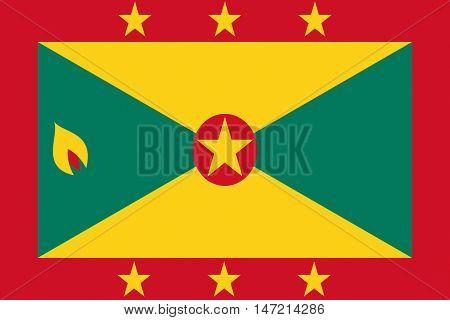 Illustration of the national flag of Grenada