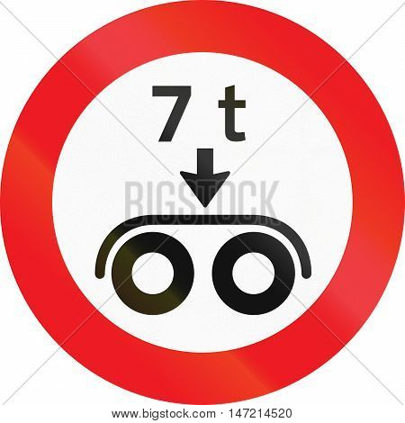 Road Sign Used In Denmark - No Vehicles Having A Weight Exceeding 7 Tonnes On A Tandem Axle