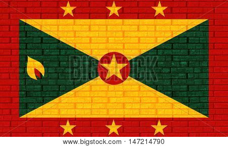 Illustration of the flag of Grenada looking like it has been painted onto a wall