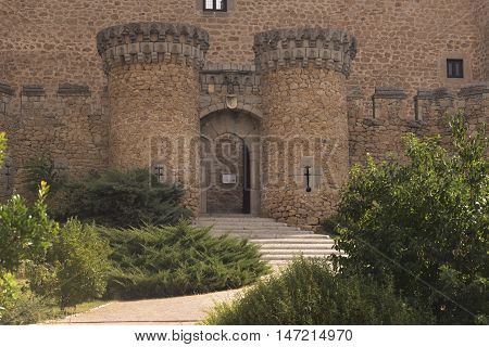 The New Castle of Manzanares el Real, also known as Castle of los Mendoza, is a palace-fortress erected in the 15th century in the town of Manzanares el Real (Community of Madrid, Spain). Its construction began in 1475 on a Romanesque-Mudéjar hermitage