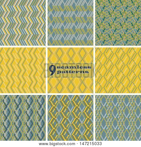 Set of 9 abstract geometric seamless patterns. Zigzag, rhomboid, parallelogram shapes of striped wide lines in yellow, blue, sand colors. Vector illustrations for modern design