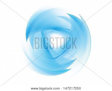 Blue fractal on a white background. Abstract fractal computer-generated image. Fractal background.