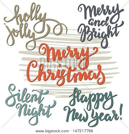 Set of Merry Christmas lettering. Vector hand written unique xmas design elements isolated on white background. Quotes for congratulation cards, banners and flyers.