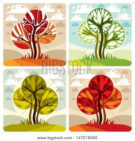 Art illustration of trees growing on beautiful meadow stylized eco landscape with clouds. Vector botany element on season idea spring time idyllic picture.