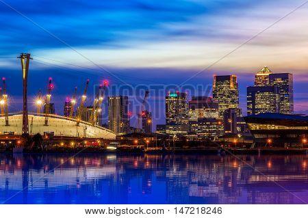 Illuminated Cityscape  With Canary Wharf