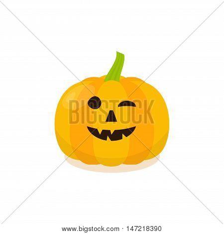 Halloween Funny Pumpkin Icon. Isolated pumkin vector illustration in cartoon style.