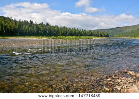 River Shchugor in the mountain taiga of the Northern Urals. National Park Yugyd-VA UNESCO World Heritage Site Virgin Komi Forests.