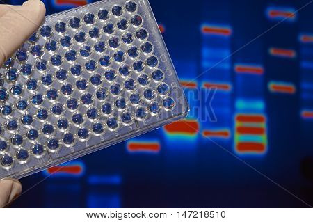 DNA testing in genetic laboratories. Biological scientific equipment.