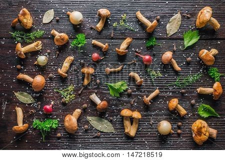 Background of fresh bovines mushrooms and spices on the dark wood surface
