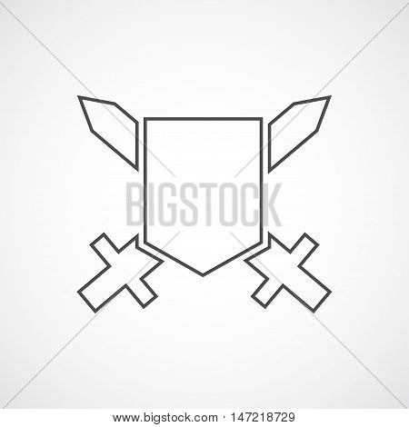 Vector flat shield icon. Isolated line icon for logo web site design app UI. Flat guard illustration for posters cards book cover flyers banner web game designs.