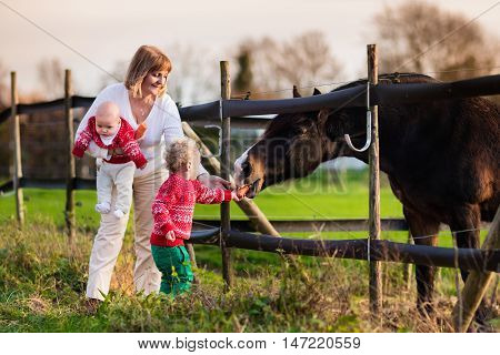 Family on a farm in autumn. Mother and kids feed a horse. Outdoor fun for parents and children. Woman with baby and toddler playing with pets. Child feeding animal on a ranch on cold fall day. Focus on boy.