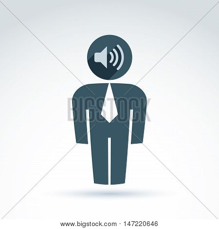 White collar office worker man icon with loudspeaker conceptual vector symbol.
