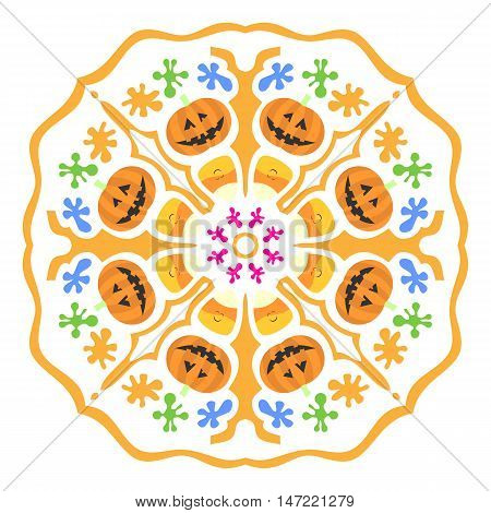 Colorful and cute halloween background with pumpkins and candies