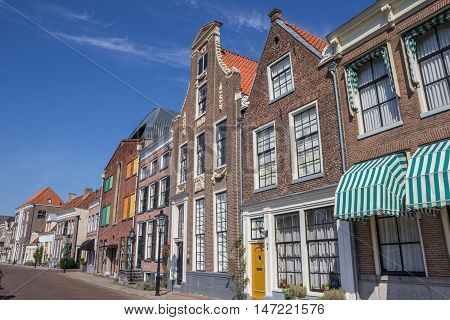ZWOLLE, NETHERLANDS - AUGUST 31, 2016: Historical buildings at a canal in Zwolle, Netherlands