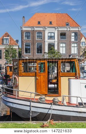 ZWOLLE, NETHERLANDS - AUGUST 31, 2016: Pilothouse of a ship in Zwolle, The Netherlands
