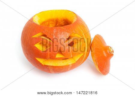 Pumpkin face isolated on white background