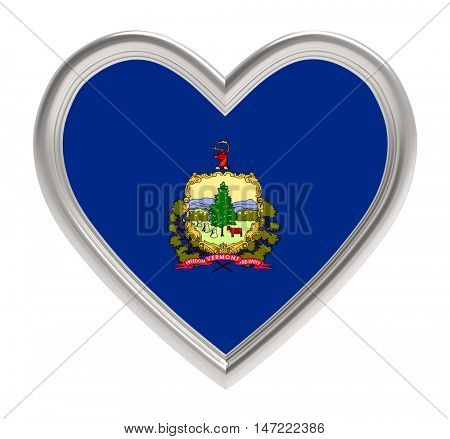 Vermont flag in golden heart isolated on white background. 3D illustration.