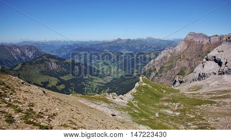 Landscape in the Bernese Oberland. Saanenland valley. Summer scene in the Swiss Alps.