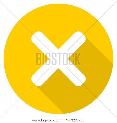 cancel flat design yellow round web icon