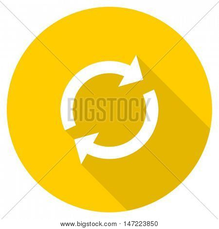 reload flat design yellow round web icon