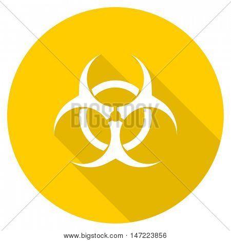 biohazard flat design yellow round web icon