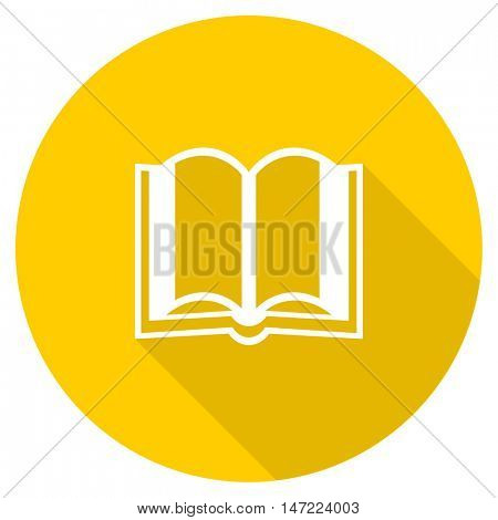 book flat design yellow round web icon