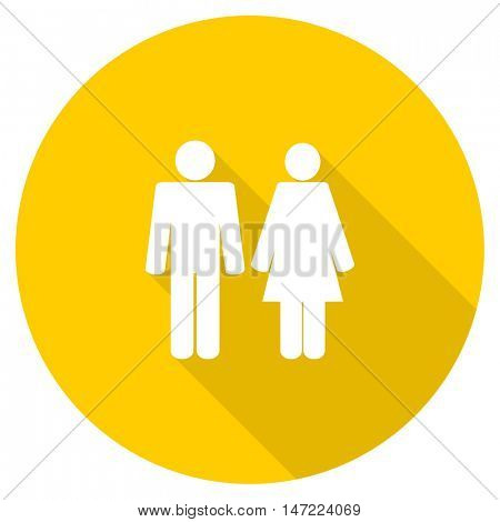 couple flat design yellow round web icon