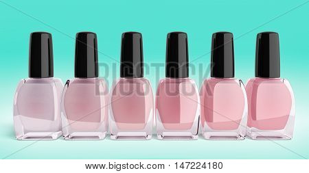 Shades Of Pink Nail Polish Bottels 3D Render On Gradient Background