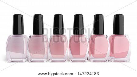 Shades Of Pink Nail Polish Bottels 3D Render On White Background