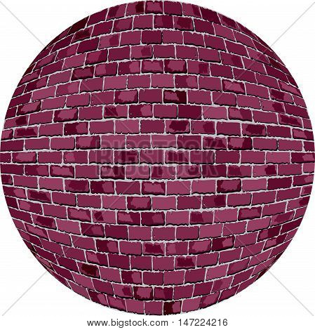 Burgundy brick ball - Illustration,  Lilac Sphere in brick style,   Abstract grunge purple brick in circle