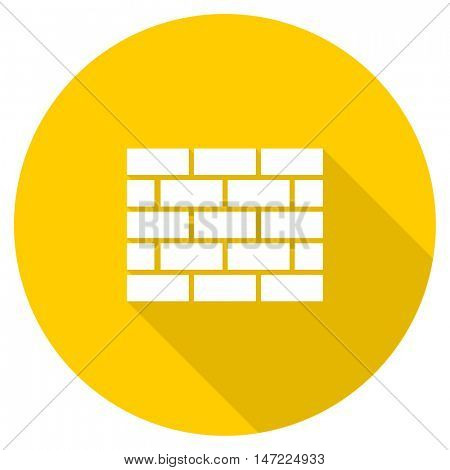 firewall flat design yellow round web icon