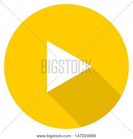 play flat design yellow round web icon