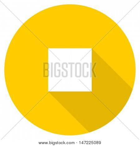 stop flat design yellow round web icon
