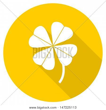 four-leaf clover flat design yellow round web icon