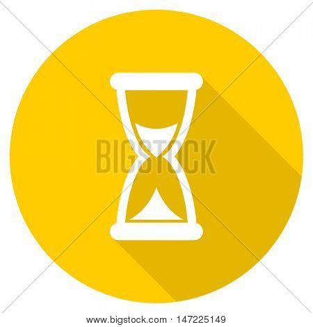 time flat design yellow round web icon