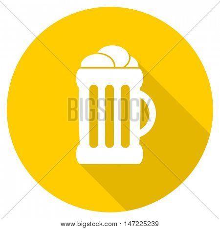 beer flat design yellow round web icon