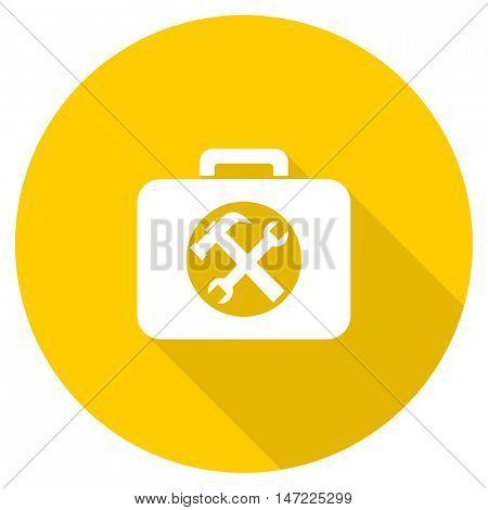 toolkit flat design yellow round web icon