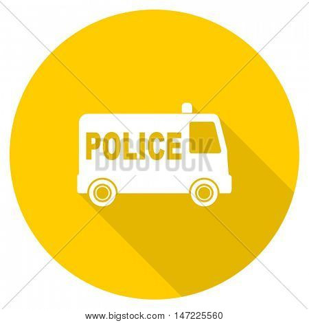 police flat design yellow round web icon