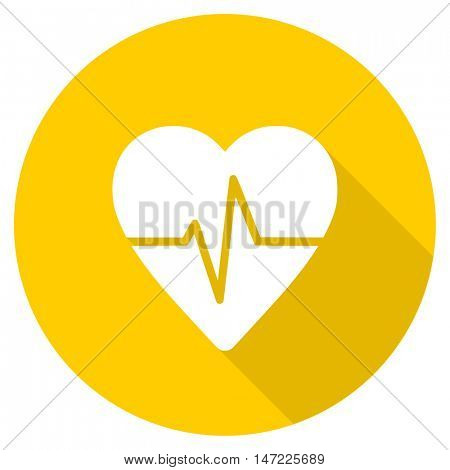 pulse flat design yellow round web icon