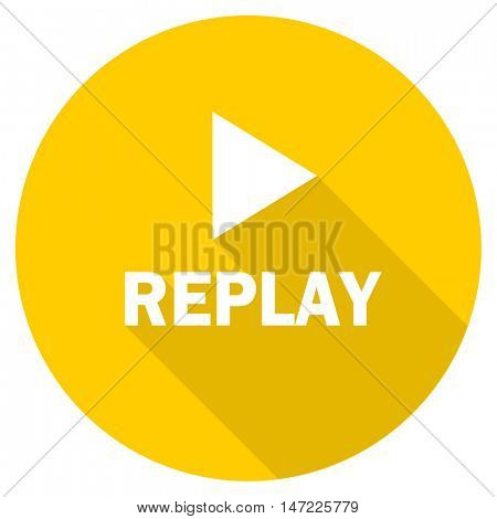 replay flat design yellow round web icon
