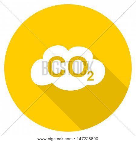 carbon dioxide flat design yellow round web icon