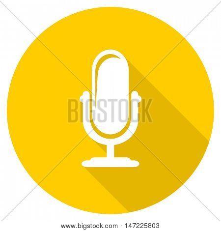 microphone flat design yellow round web icon