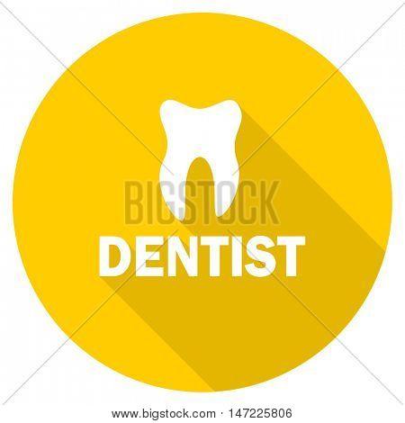dentist flat design yellow round web icon