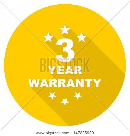 warranty guarantee 3 year flat design yellow round web icon