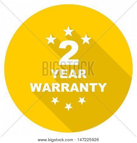 warranty guarantee 2 year flat design yellow round web icon