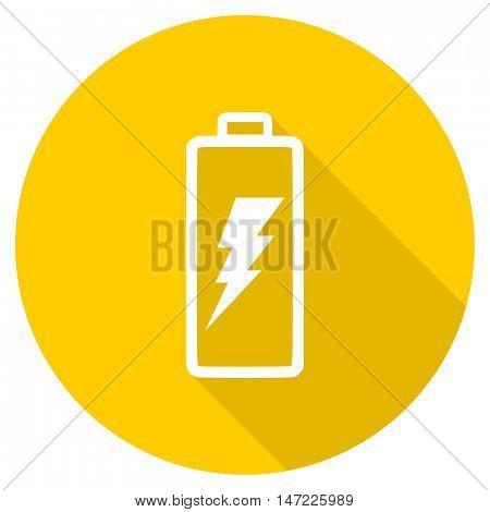 battery flat design yellow round web icon