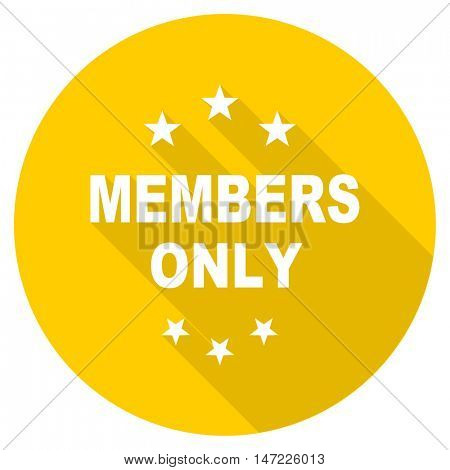 members only flat design yellow round web icon