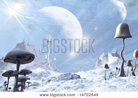 Frozen Blue Alien Landscape