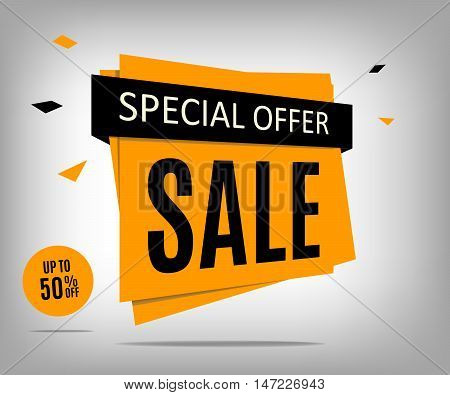 Sale banner on a abstract gray background. Special offer banner. Vector illustrration eps 10