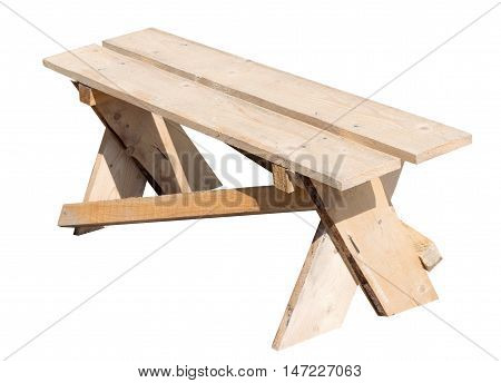 the new wooden bench on white background